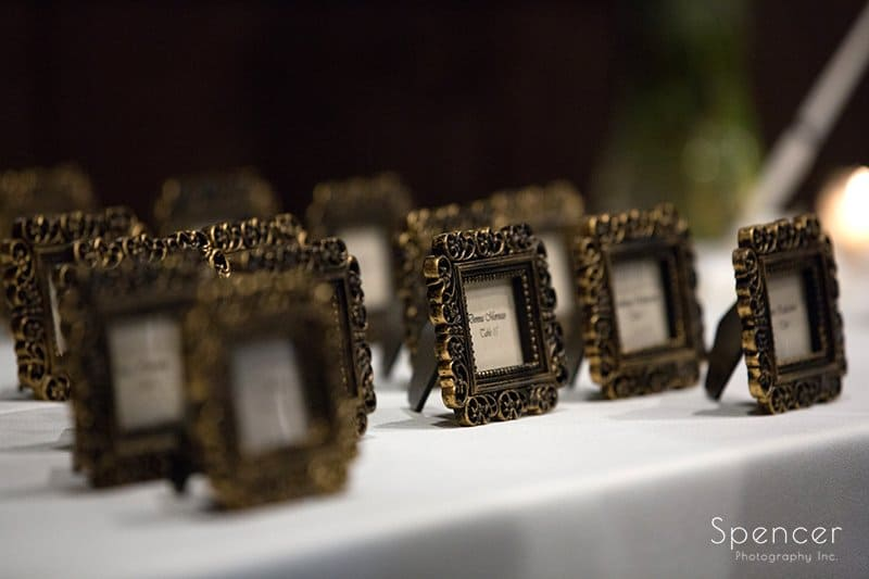 wedding reception table placards at Happy Days Lodge