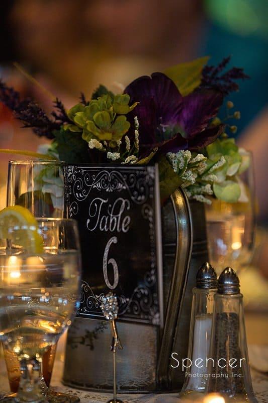wedding reception centerpieces at Happy Days Lodge