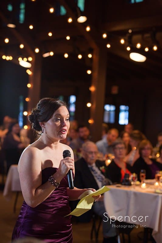 maid of honor speech at wedding reception at Happy Days Lodge