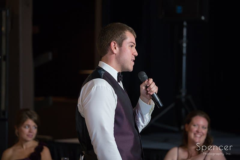 best man speech at wedding reception at Happy Days Lodge