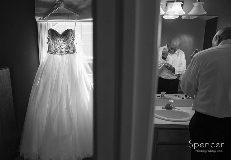 brides father getting ready for wedding day in Cleveland