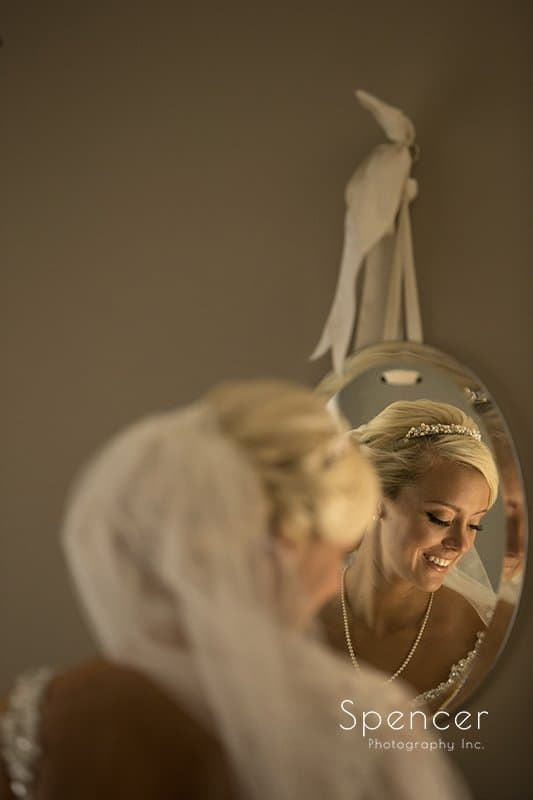 picture of brides reflection in mirror