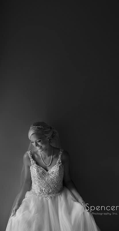 black and white wedding portrait of bride
