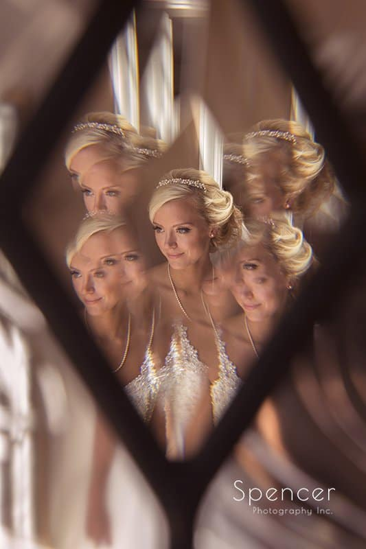 creative wedding picture of reflections of bride