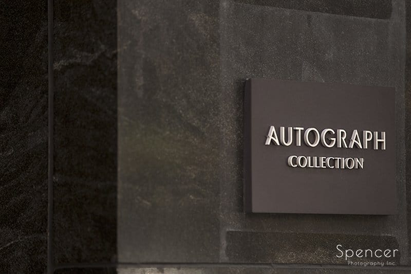 Autograph collection sign on wedding day at Metropolitan at the 9 Cleveland