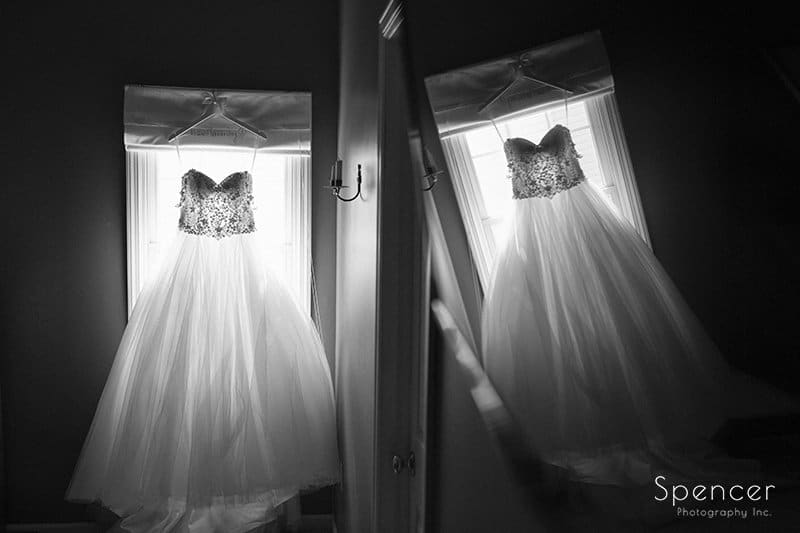 black and white picture of wedding dress