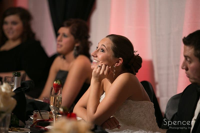 bride reacting to maid of honor speech at Galaxy restaurant reception