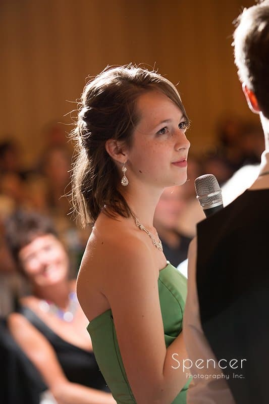 maid of honor giving speech at wedding reception at Crown Plaza Cleveland