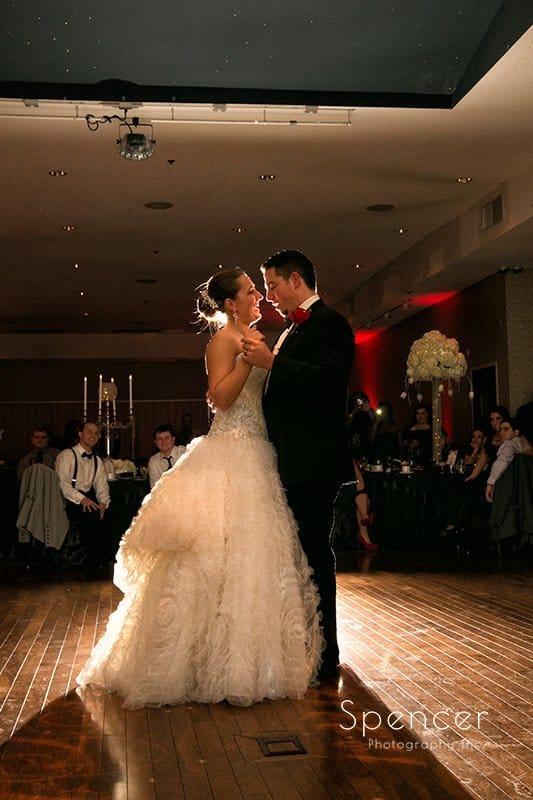 first dance at wedding reception at Galaxy Restaurant