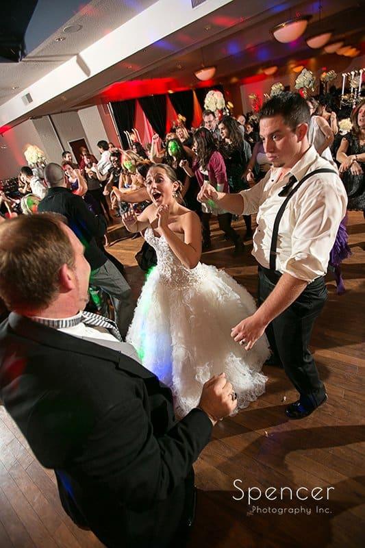 wedding guests dancing at reception at Galaxy