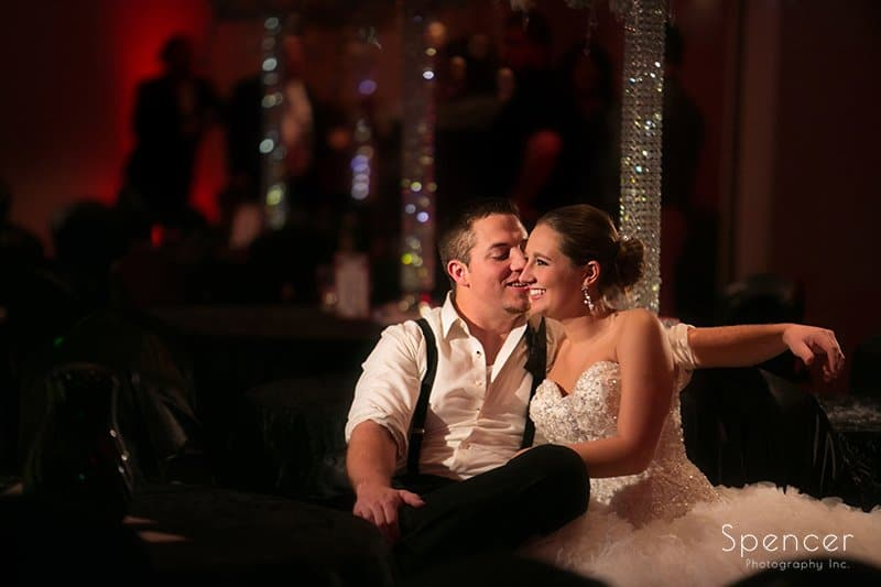 bride and groom enjoy quiet moment at their wedding reception at Galaxy