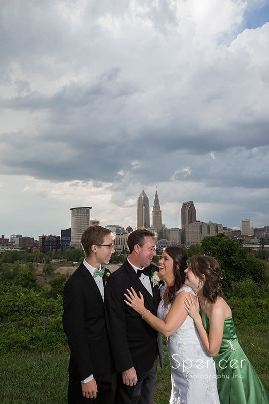 wedding party in picture in front of Cleveland Ohio