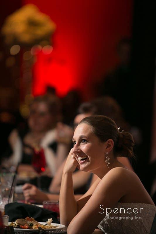 bride watching best man speech at Galaxy restaurant