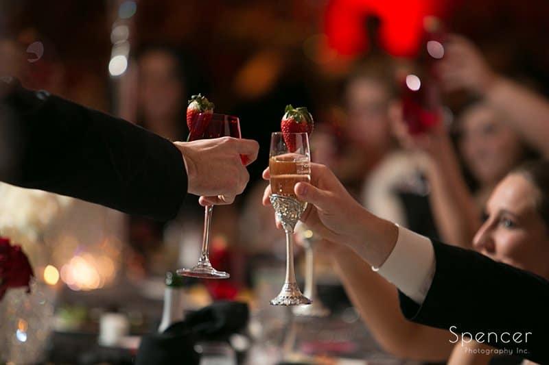 bride and groom make reception toast at Galaxy Restaurant