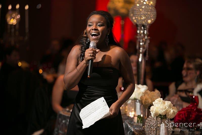 maid of honor giving speech at wedding reception at Galaxy Restaurant