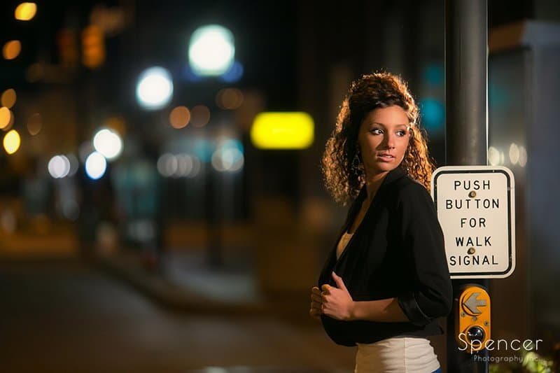 nighttime senior picture in downtown Akron