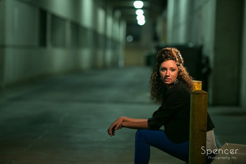 senior picture at night in downtown Akron