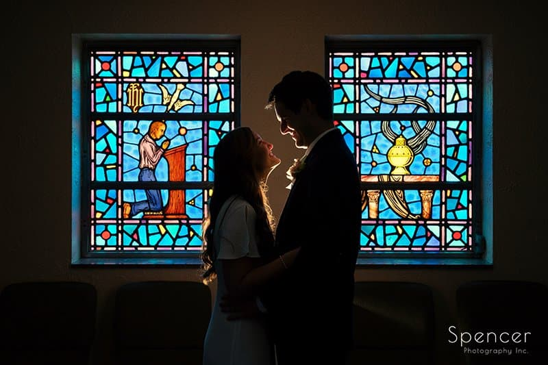 creative wedding picture of bride and groom at The Chapel in Akron Ohio