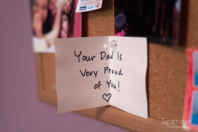 brides dad written note
