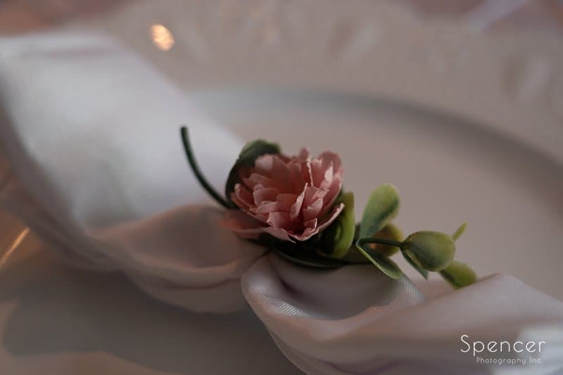 close up of wedding dinner table setting