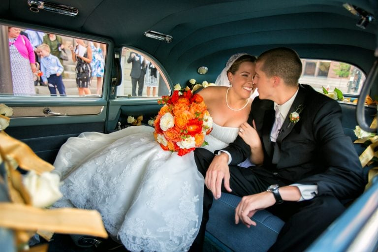 bride kissing groom after wedding at Cleveland Old Stone Church