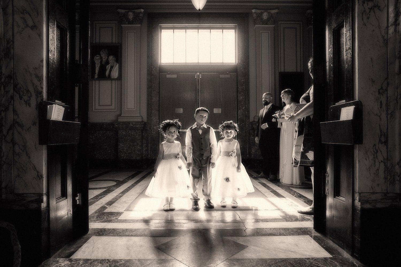 children waiting for wedding at St. Coleman Church