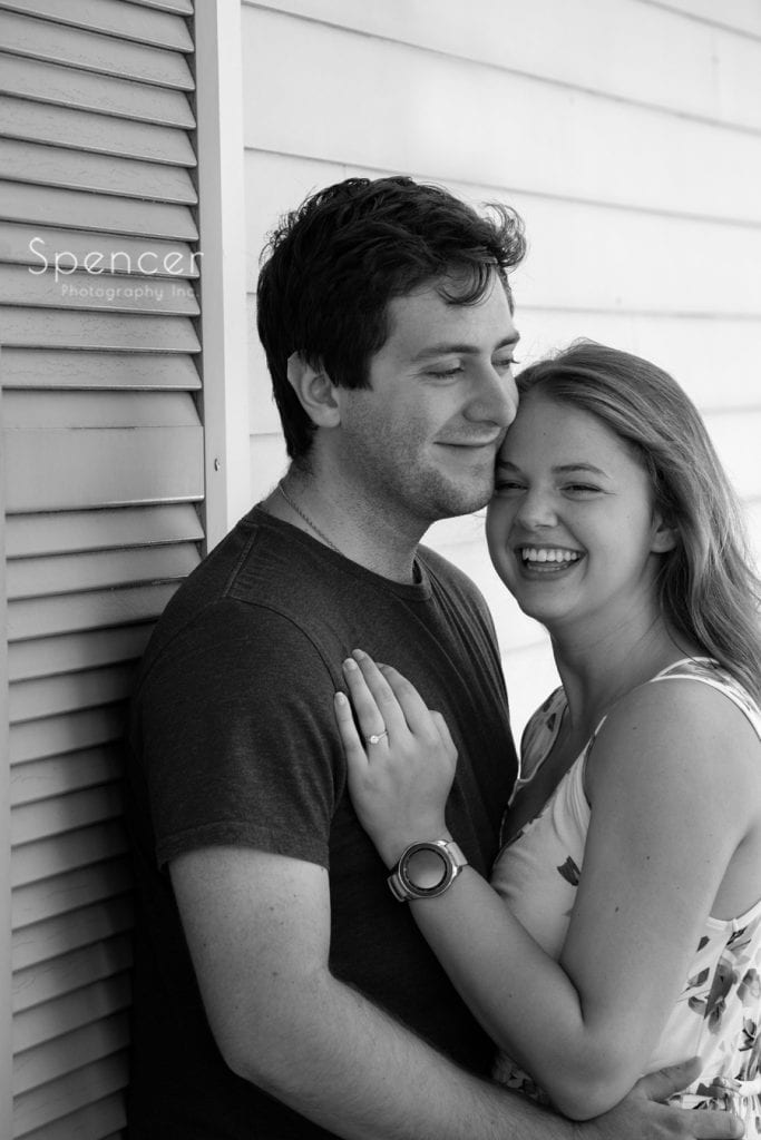 black and white engagement picture at Acacia