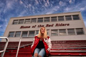 unique senior picture in Orrville High School Stadium