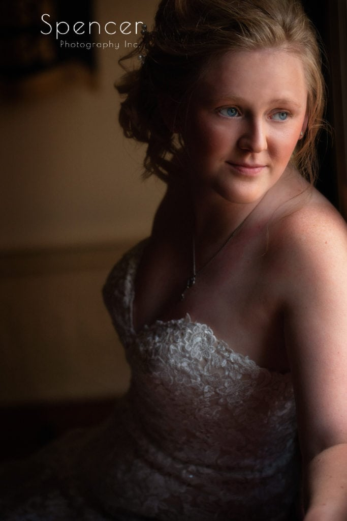 wedding picture of bride at Greater Akron Motorcycle Club