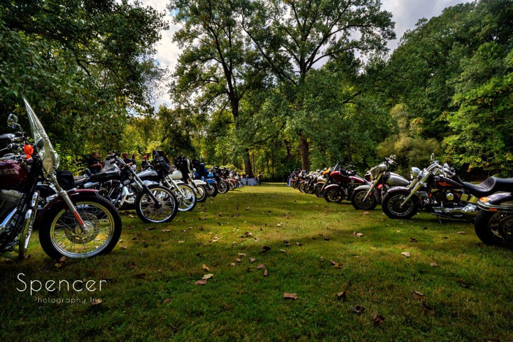 wedding aisle of motorcycles