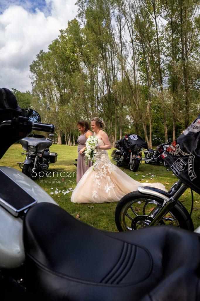 bride walking down aisle at akron wedding