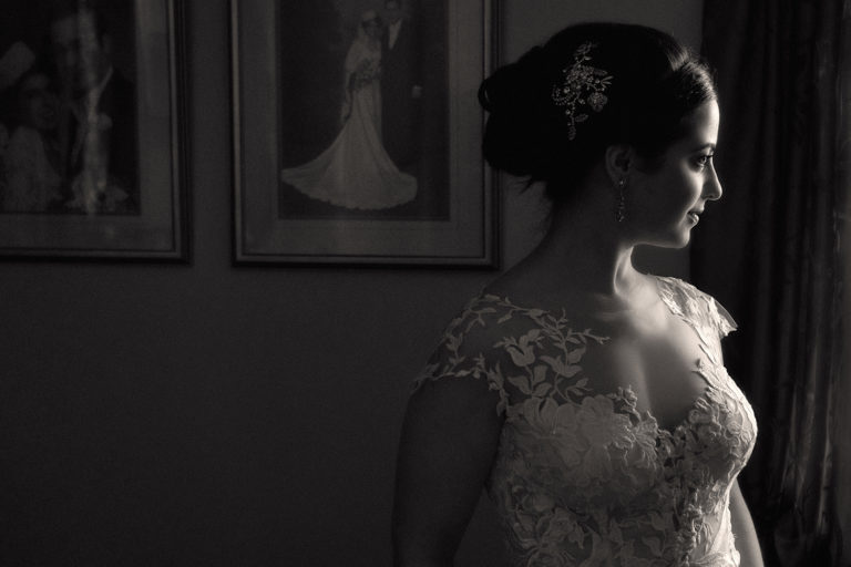 black and white picture of bride at Cleveland Ritz Carlton Hotel