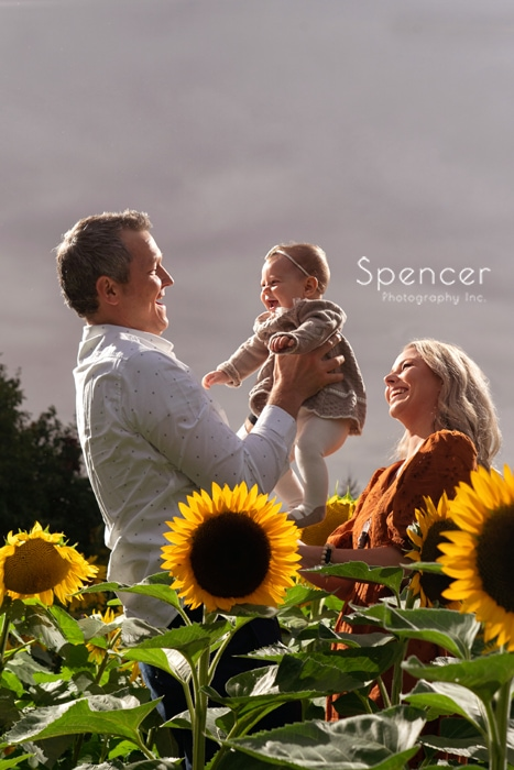 family picture in sunflower field