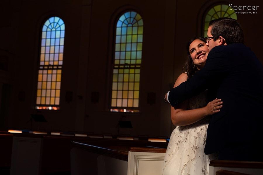 groom kissing bride after wedding in Shaker Heights