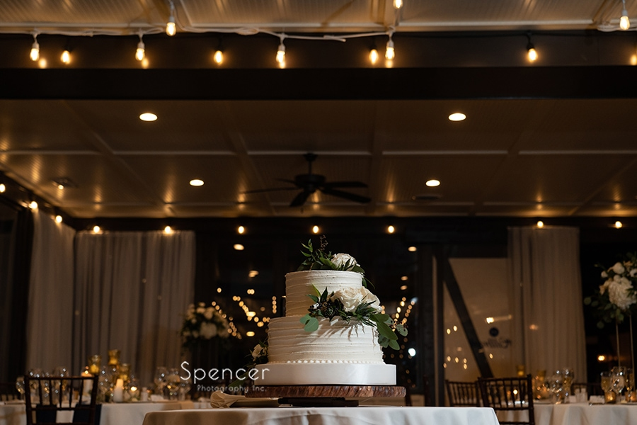 wedding cake at reception at The Club at Hillbrook