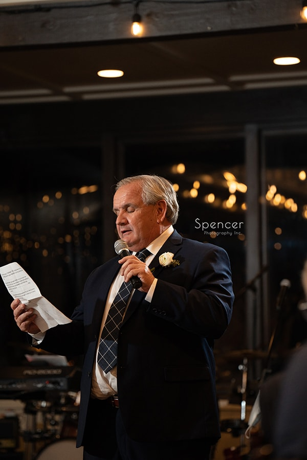 father of bride giving speech at HIllbrook