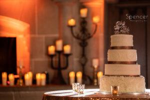 wedding cake at reception at Glenmoor Country Club