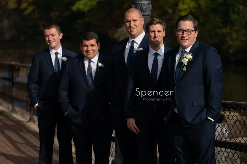 a picture of the groomsmen in Chagrin Falls