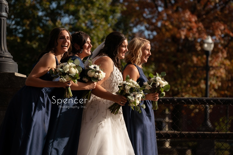 bridesmaids with bride in Chagrin Falls Ohio