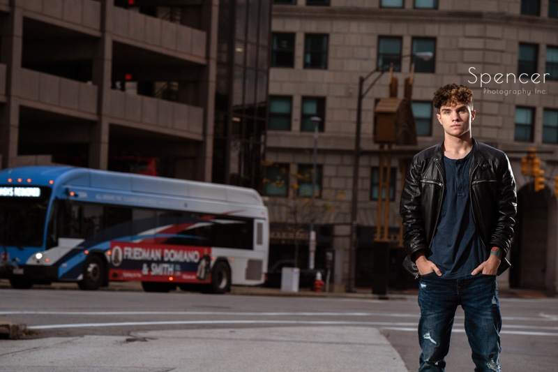 cleveland high school senior picture in downtown street