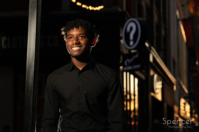 horizontal senior picture in downtown Cleveland Euclid Ave