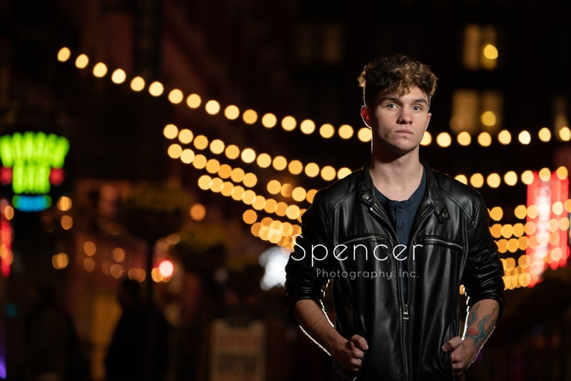 nighttime senior picture on Cleveland east fourth street