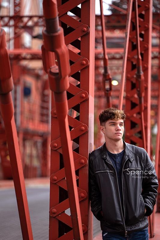 senior picture on Cleveland drawbridge