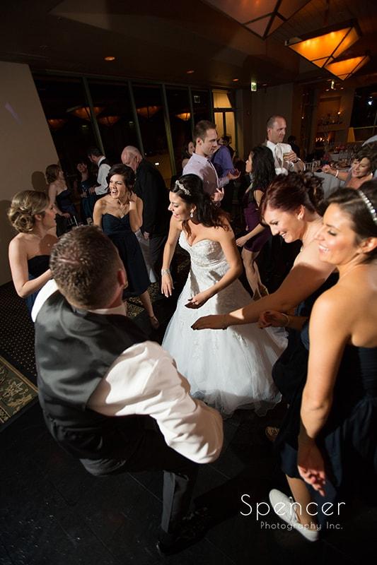 bride dancing with wedding guests at wedding reception at Troon North