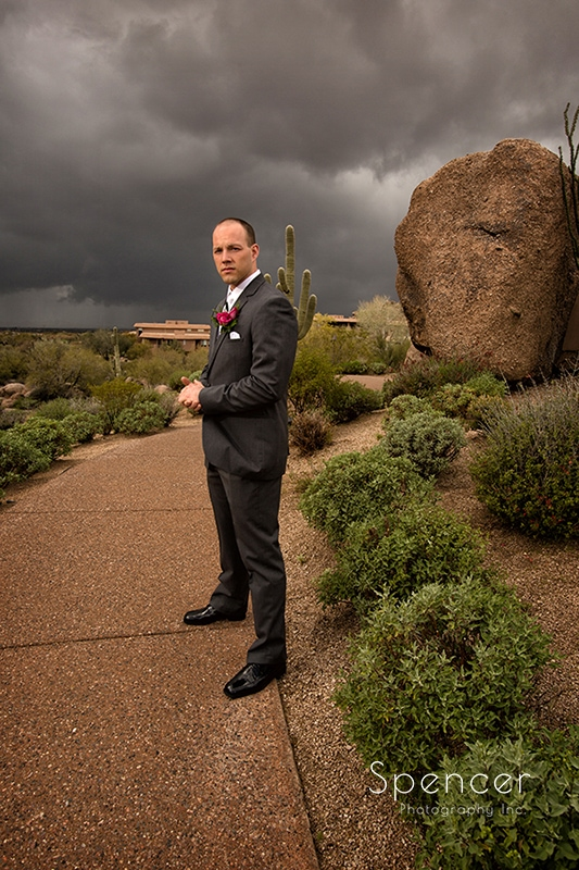 picture of groom outside before his wedding at Troon North Golf Club
