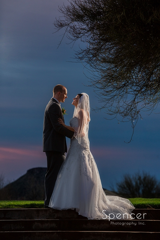 wedding picture at sunset at Troon North Golf Club