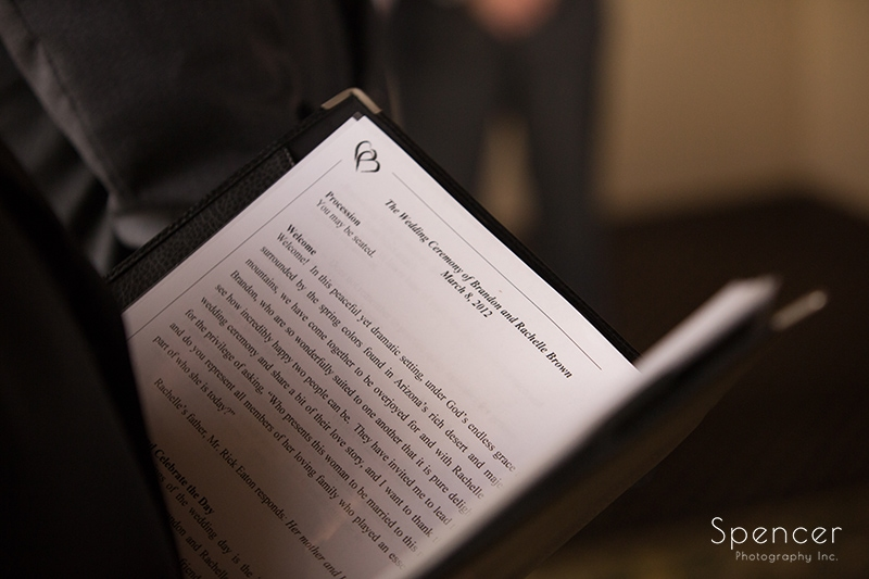 wedding officiant reading during ceremony
