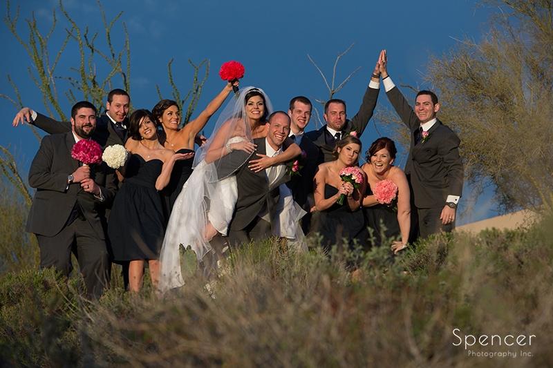 wedding party cheering before wedding reception in Scottsdale Arizona