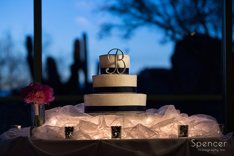 wedding cake at reception at Troon North Golf Club