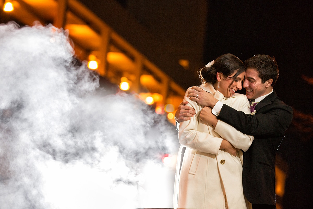 cleveland wedding couple hugging during winter wedding
